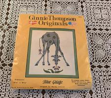 Buy Brand New Ginnie Thompson Counted Cross Stitch Kit MS1 Blue Giraffe 7 x 5 Inch