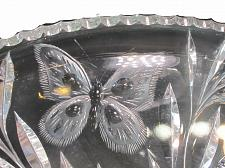 Buy ABP cut glass dish butterfly and Thistle ANTIQUE