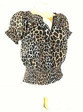 Buy Candies Women's Large Black Brown Animal Print Gold Glitter Top Blouse (C)pm1