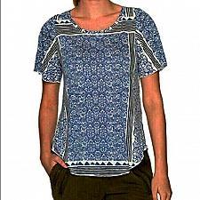 Buy Women's Lucky Brand Triangle Stripe Top, Size X-Small - Blue