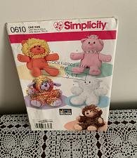 Buy Brand New Simplicity Pattern 0610 Five Stuffed Animals For Dog Rescue Charity