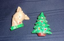 Buy Two Vintage Mens Square Dance Christmas Themed Tie Clips For Dog Rescue Charity