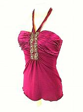 Buy Heart Moon Star Womens Small Burgundy Silk Embroidered Sequins Halter Top NWT (E