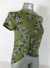 Buy WALL FLOWER womens medium S/S GREEN WHITE BLACK FLORAL STRETCH TOP BLOUSE (S)