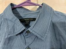 Buy John Varvatos USA Mens Blue Checkered Short Sleeve Button Down Shirt Sz S