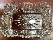 Buy American Brilliant Period hand Cut Glass rectangle tray Signed Fry
