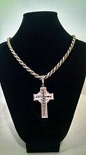 Buy Large Diamond Cut Cross .925 Sterling Silver Religious Pendant + Add a Chain