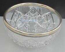 Buy Sterling silver rim American Brilliant Period Cut Glass bowl Antique ABP