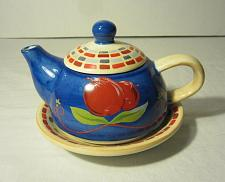 Buy Barnes and Noble Blue Tea Pot Set with Plate - Red cherries