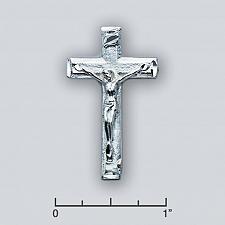 "Buy .925 Silver Beveled Crucifix w/ .925 Italian 22"" Silver Rope Chain"