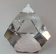 Buy 3 sided glass paperweight etched,