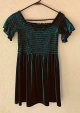 Buy Urban Outfitters Small Teal elastic bust line velour feel Renaissance shirt S