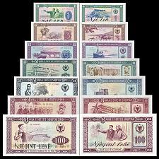 Buy Full Set Albania Paper Money 1976, Banknotes: 1, 3, 5, 10, 25, 50, 100 leke. UNC