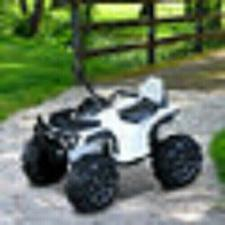 Buy Kids Ride-on Four Wheeler ATV Car with Real Working Headlights, White