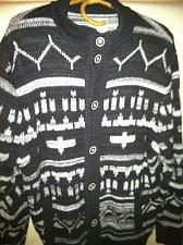 Buy Lucky Brand Cardigan Sweater Black White Geometric Pattern Men XL