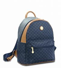 Buy Rioni Signature Navy Blue Leather Round Dome Backpack STA - 20286
