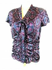 Buy Style & Co Women's 12P Purple Paisley Button Down Tie Neck Stretch Ruched Top (E