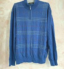 Buy Bugatchi uomo Men's merino wool blend 1/4 zip pullover sweater Size L blue