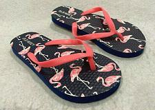 Buy Old Navy Girls Flip Flops New Nwot Blue Flamingos Pink Print Size 12 - 13