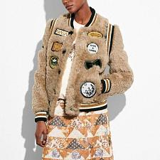 Buy Coach Shearling Bomber Jacket W/ Patches In Beige size 2