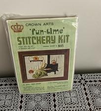 Buy Vintage Crown Arts Fun Time Crewel Stitchery Craft Kit 2010 Oven Baker 5 x 7 In
