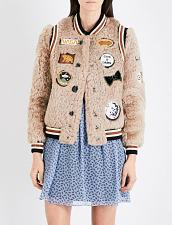 Buy Coach Women's Shearling Bomber Jacket W/ Patches size 0