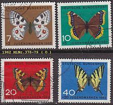 Buy GERMANY BUND [1962] MiNr 0376-79 ( O/used ) Schmetterlinge