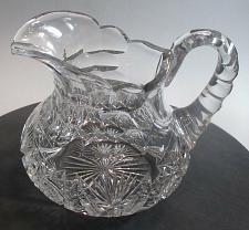 Buy American Brilliant Period Cut Glass squat pitcher Antique 6.75 lb