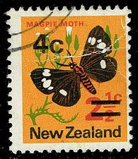 Buy New Zealand #480a Magpie Moth - Surcharged; Used (1Stars)  NWZ0480a-02
