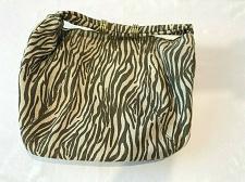 Buy street level tote bag cotton Hemp beige green print / gold brass rings