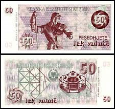 Buy Albania 50 Lek Valute Paper Money Banknote of 1992. P#50b without serial no. UNC