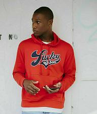 Buy Lucky Logo Hoodie Sweatsirt Red Men`s Size XS 90`s Retro New!