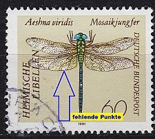 Buy GERMANY BUND [1991] MiNr 1549 F14 ( O/used ) [01] Tiere Plattenfehler