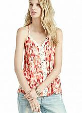 Buy Lucky Brand XL Red & Orange Ikat Print Crochet Detail Rayon Tank Top
