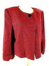 Buy Larry Levine Women's XL Red Black Checked Cuff Sleeve Snap Button Jacket (C)pmt1