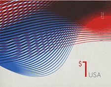 Buy 2015 $1 Patriotic Wave, Billowing Flags, Imperforate Scott 4953a Mint F/VF NH