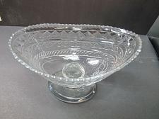Buy Hand Cut Glass pedestal oval dish Antique