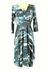 Buy Vera Wang womens small 3/4 sleeve green black white V-Neck stretch dress (O)pm