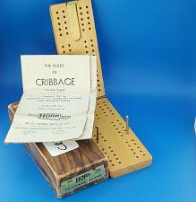 Buy Horn No. C-82 Wood Travel Cribbage Board Metal Pegs Foldable 1941 Made In U.S.A