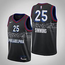 Buy Men's Philadelphia 76ers #25 Ben Simmons 2021 Black City Jersey