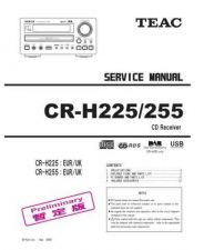 Buy Teac CR-H225&CR-H255 temp Service Manual by download Mauritron #223630