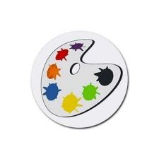 Buy Artist Palette Set Of 4 Round Rubber Drink Coasters