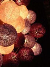Buy PURPLE WHITE 20 COTTON BALLS STRING LIGHTS PARTY WEDDING HOME GARDEN DÉCOR PALI