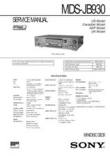 Buy Sony MDS-JB930 service manual Technical Manual. by download Mauritron #242677