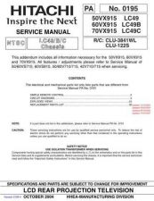 Buy Hitachi 60VX915 LC49B Service Manual by download Mauritron #260402