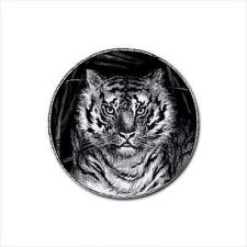 Buy Tiger Face Art Set Of 4 Round Rubber Drink Coasters