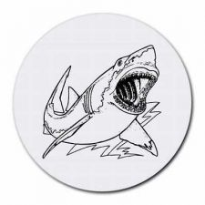 Buy Killer Great White Shark Round Computer Mouse Pad Mousepad