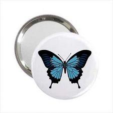 Buy Blue Butterfly Round Handbag Purse Mirror