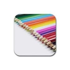 Buy Artist Colored Pencils Design Set Of 4 Square Rubber Coasters
