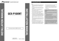 Buy Pioneer 212667118GEXP10XMT InstallationManual by download Mauritron #223283